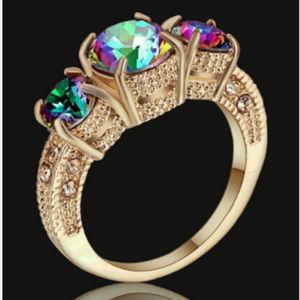 Jewelry - Rainbow Mystic Topaz Size 8 10k GF Ring Gold 10KT